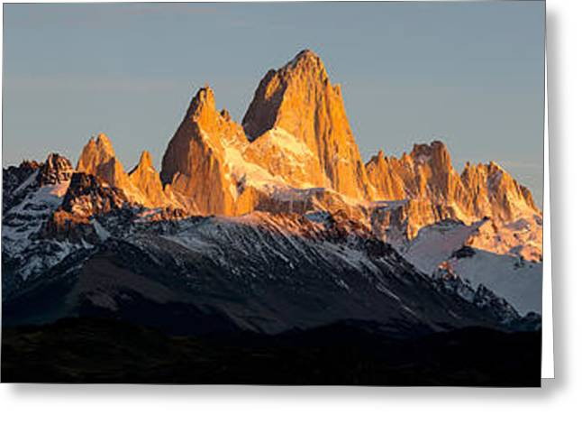 Mountain Greeting Cards - Snowcapped Mountain Range, Mt Fitzroy Greeting Card by Panoramic Images