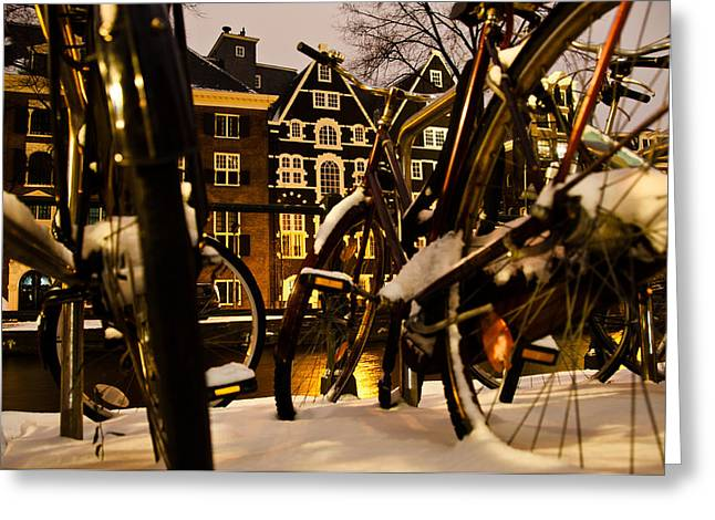 Residential Structure Greeting Cards - Snowy Amsterdam At Night Greeting Card by Frank Gaertner