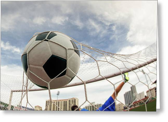 Goal Line Greeting Cards - Soccer Ball In Goal  Greeting Card by Anek Suwannaphoom
