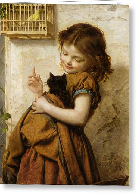 Young Teen Greeting Cards - Her Favorite Pets Greeting Card by Sophie G Anderson