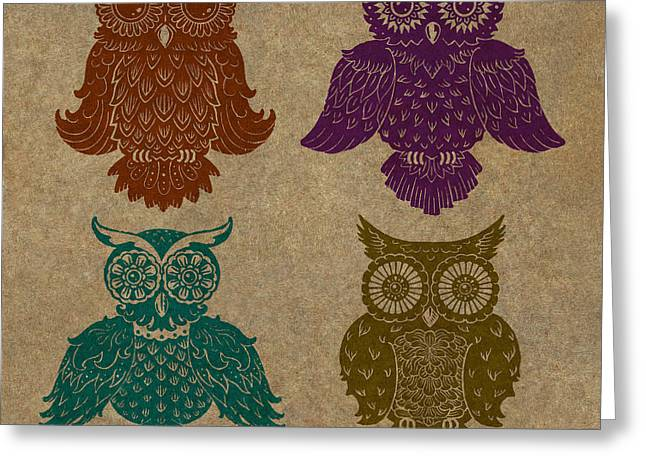 Lino Mixed Media Greeting Cards - 4 Sophisticated Owls Colored Greeting Card by Kyle Wood