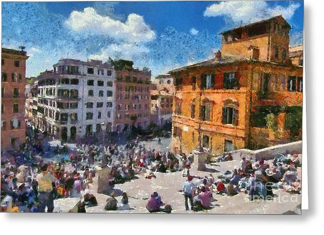 Spanish Steps At Piazza Di Spagna Greeting Card by George Atsametakis