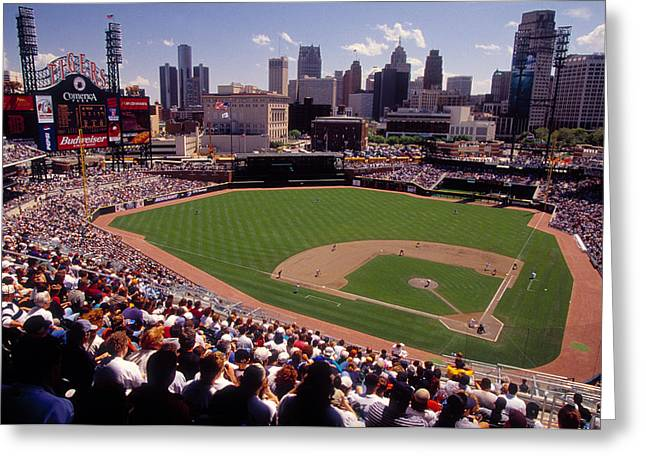 Professional Sports Greeting Cards - Spectators Watching A Baseball Match Greeting Card by Panoramic Images