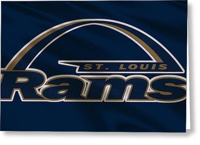 St Louis Greeting Cards - St Louis Rams Uniform Greeting Card by Joe Hamilton