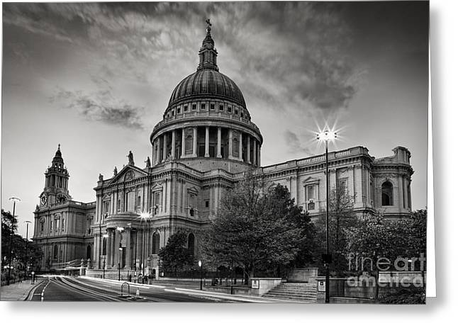 Traffic Lights Greeting Cards - St Pauls London Greeting Card by Rod McLean