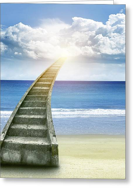 Glowing Greeting Cards - Stairway to heaven Greeting Card by Les Cunliffe