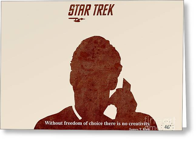 Enterprise Greeting Cards - Star Trek Original - Kirk Quote Greeting Card by Pablo Franchi