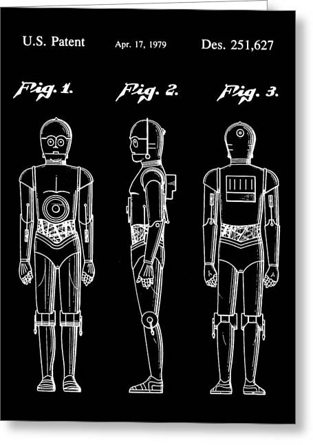 Galactic Empire Greeting Cards - Star Wars C-3PO Patent 1979 - Black Greeting Card by Stephen Younts