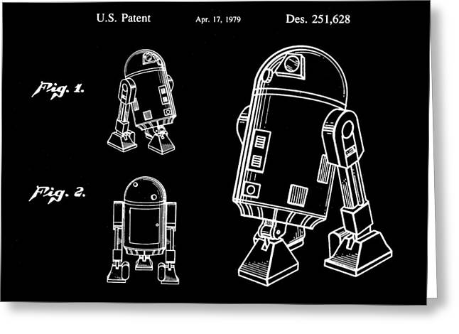 Galactic Empire Greeting Cards - Star Wars R2-D2 Patent 1979 - Black Greeting Card by Stephen Younts