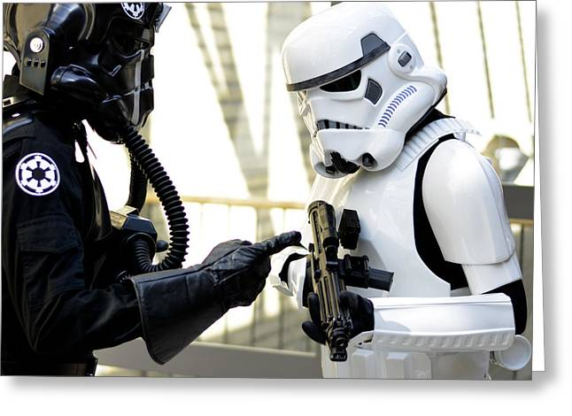 Amusements Mixed Media Greeting Cards - Star Wars Stormtrooper Greeting Card by Toppart Sweden