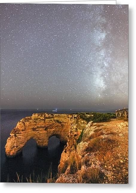 Mediterranean Landscape Greeting Cards - Starry Sky at Praia da Marinha Greeting Card by Andre Goncalves