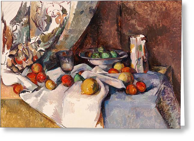Still Life With Bottle Greeting Cards - Still Life with Apples Greeting Card by Paul Cezanne