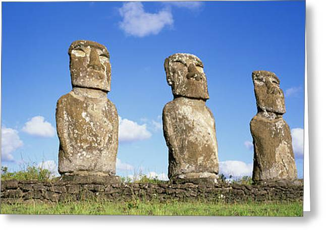 Easter Images Greeting Cards - Stone Heads, Easter Islands, Chile Greeting Card by Panoramic Images
