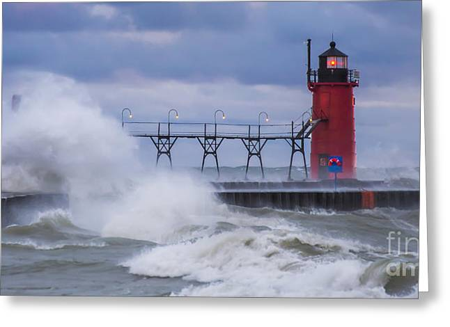 Storms At South Haven Greeting Card by Twenty Two North Photography