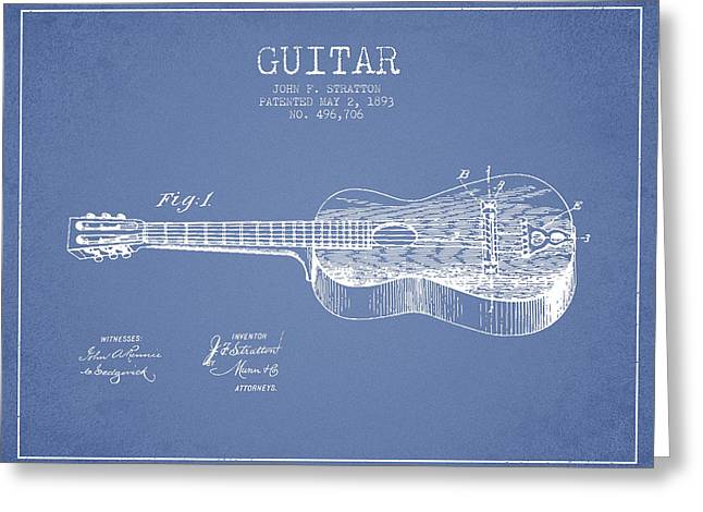 Acoustic Guitar Digital Greeting Cards - Stratton guitar patent Drawing from 1893 Greeting Card by Aged Pixel