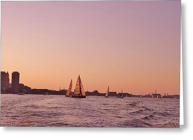 New England Ocean Greeting Cards - Sun Setting Over Boston Series Greeting Card by Laura Lee Zanghetti