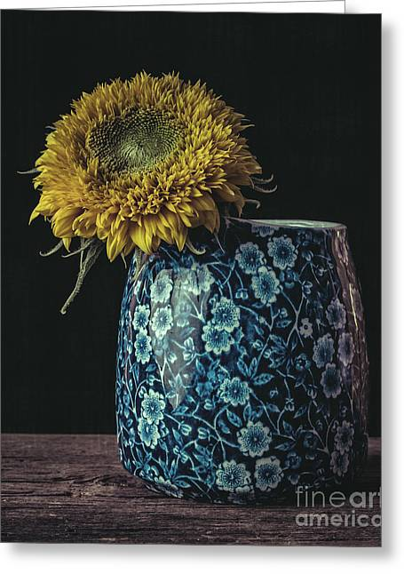 Flower Still Life Greeting Cards - Sunflower Greeting Card by Edward Fielding