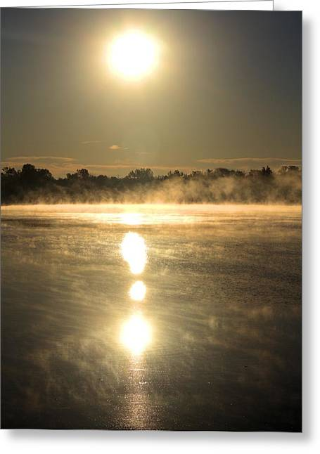 Foggy Day Greeting Cards - Sunrise Greeting Card by Dan Sproul