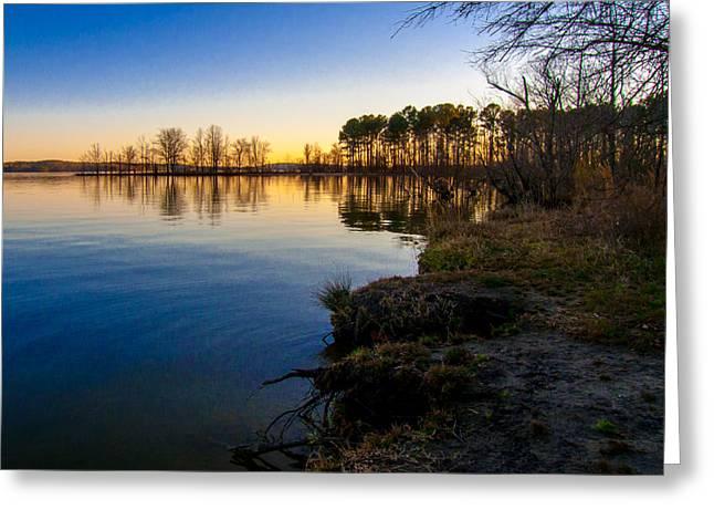 Jordan Greeting Cards - Sunset at Jordan Lake Greeting Card by Jiayin Ma