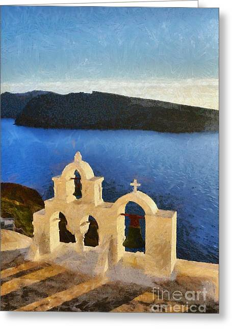 Traditional Greeting Cards - Sunset behind a belfry in Santorini island Greeting Card by George Atsametakis