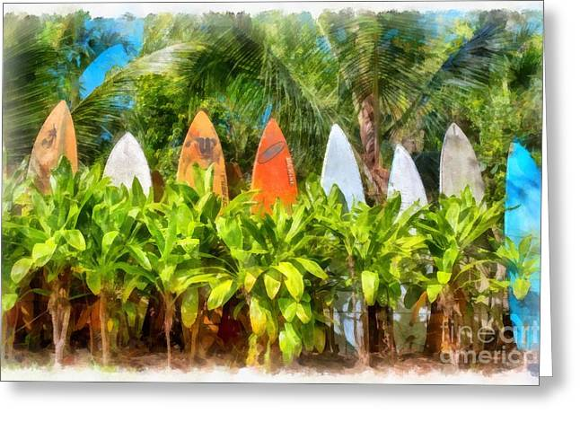 Board Fence Greeting Cards - Surf Board Fence Maui Hawaii Greeting Card by Edward Fielding