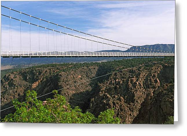 Arkansas Greeting Cards - Suspension Bridge Across A Canyon Greeting Card by Panoramic Images