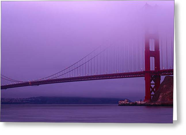 Marin County Greeting Cards - Suspension Bridge Across The Sea Greeting Card by Panoramic Images