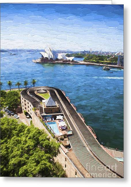 Hyatt Hotel Greeting Cards - Sydney harbour Greeting Card by Sheila Smart