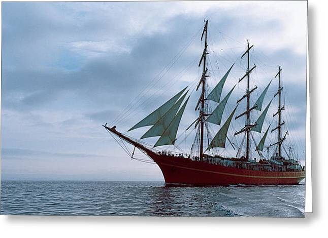 Tall Ships Greeting Cards - Tall Ship Regatta In The Baie De Greeting Card by Panoramic Images