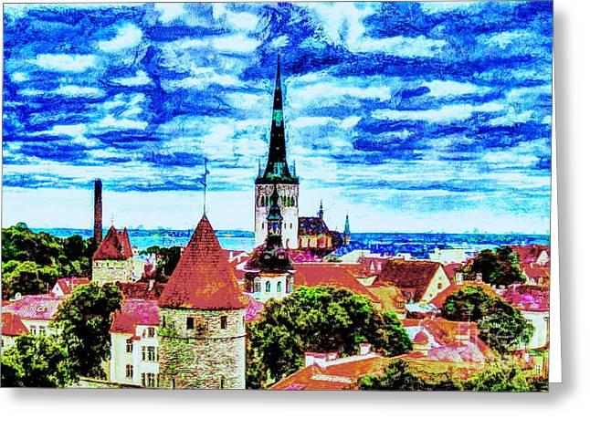 Tallinn Pyrography Greeting Cards - Tallinn Estonia Greeting Card by Yury Bashkin