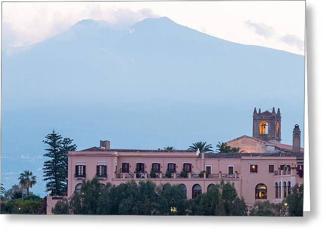 Outdoor Theater Greeting Cards - Taormina City Scape Greeting Card by Salvatore Pappalardo
