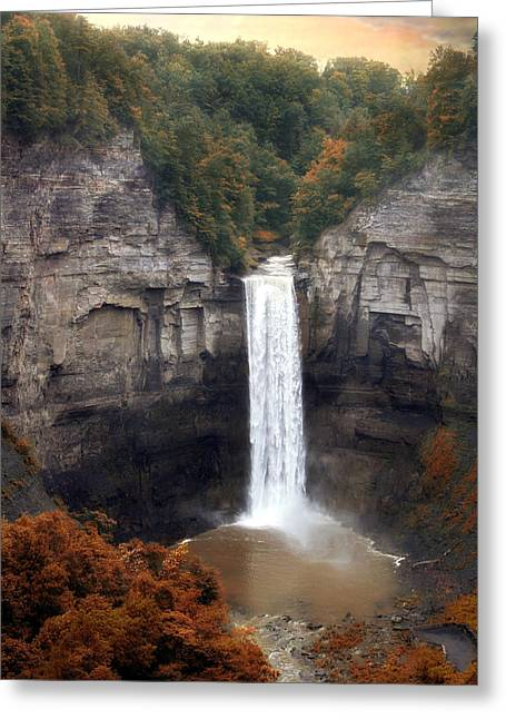 Autumn Landscape Digital Greeting Cards - Taughannock Falls Greeting Card by Jessica Jenney