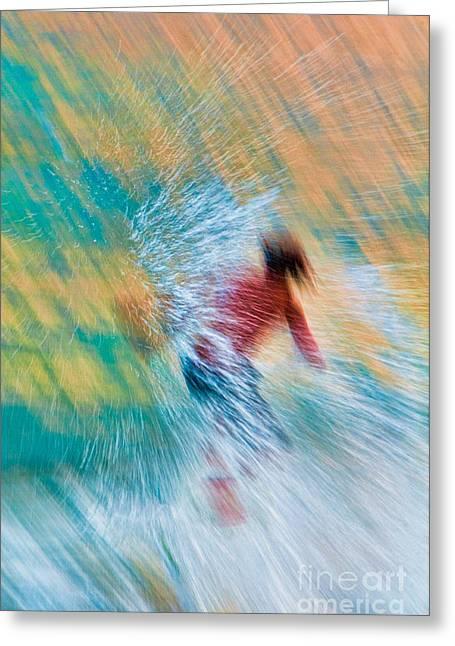 Lahaina Greeting Cards - Teenage boy skimboarding on Maui Hawaii Greeting Card by Don Landwehrle