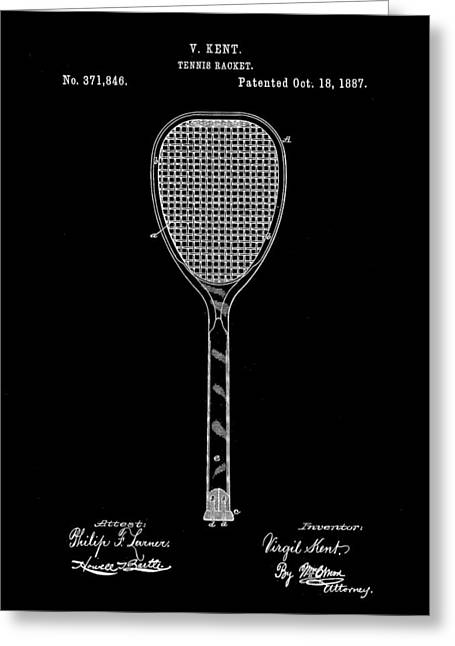 Tennis Racket Patent 1887 - Black Greeting Card by Stephen Younts