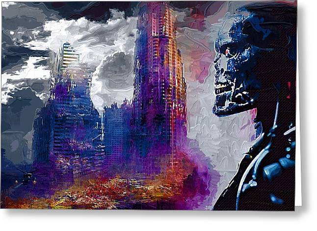 The Terminator Greeting Cards - Terminator 2 Poster Greeting Card by Victor Gladkiy