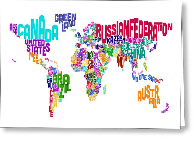 Font Map Digital Greeting Cards - Text Map of the World Greeting Card by Michael Tompsett