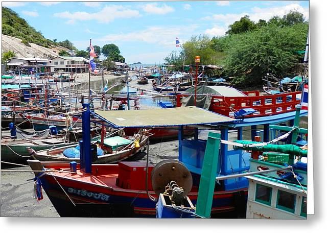 Boats At Dock Greeting Cards - Thai Fishing Village Boats Greeting Card by Joe Wyman