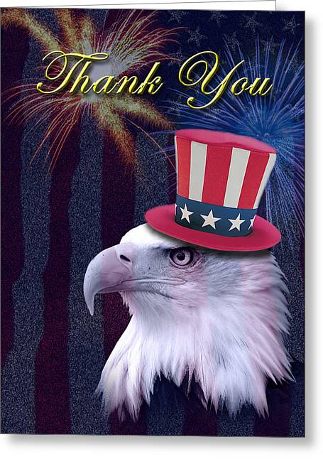 Wildlife Celebration Greeting Cards - Thank You Eagle Greeting Card by Jeanette K