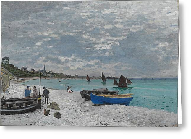 Seurat Greeting Cards - The Beach at Sainte Adresse Greeting Card by Celestial Images