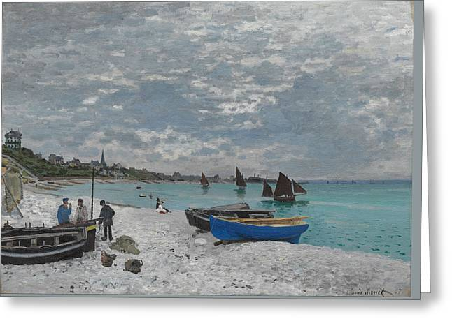 Vintage Painter Greeting Cards - The Beach at Sainte-Adresse Greeting Card by Claude Monet