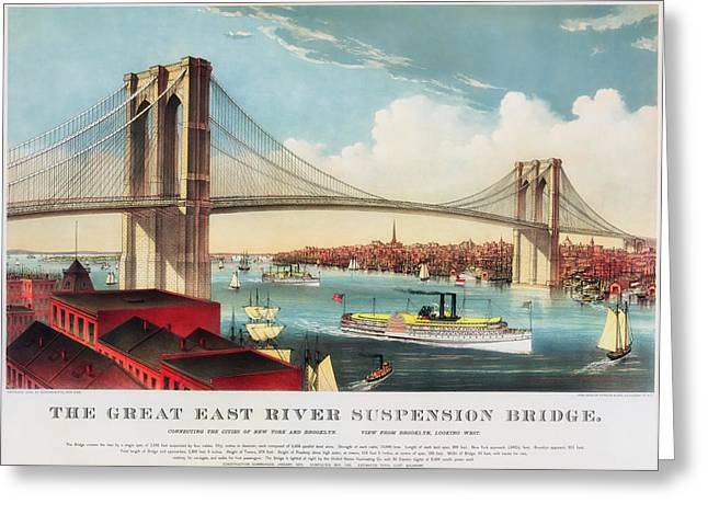 Suspension Drawings Greeting Cards - The Brooklyn Bridge Greeting Card by Mountain Dreams