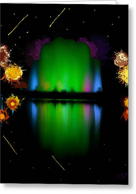 Jet Star Greeting Cards - The Electric Fountain Greeting Card by Bruce Nutting