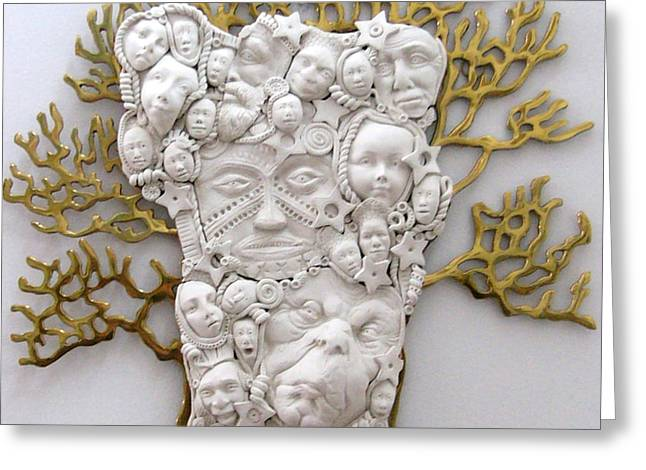 Christmas Art Sculptures Greeting Cards - The Family Tree Greeting Card by Keri Joy Colestock