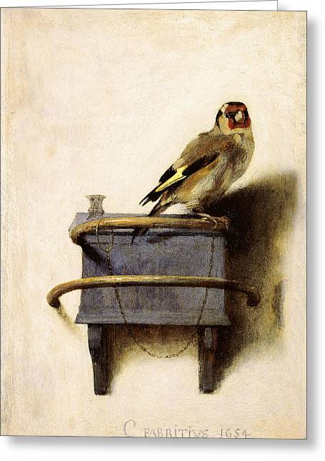 Recently Sold -  - Sunset Posters Greeting Cards - The Goldfinch Greeting Card by Celestial Images