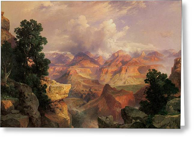 The Grand Canyon Paintings Greeting Cards - The Grand Canyon Greeting Card by Thomas Moran