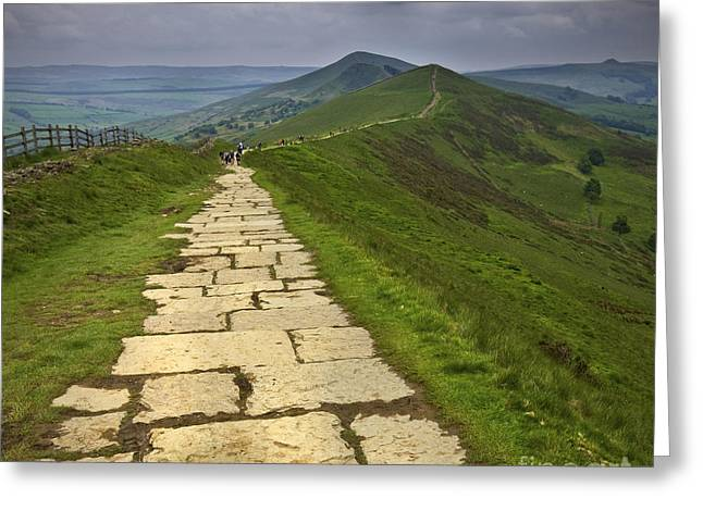 Mam Tor Greeting Cards - The Great Ridge Derbyshire Greeting Card by Darren Burroughs