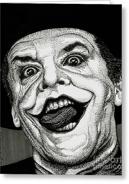 Batman Drawings Greeting Cards - The Joker Greeting Card by Cory Still