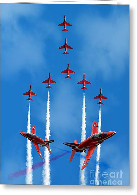 Red White And Blue Prints Greeting Cards - The Red Arrows  Greeting Card by J Biggadike