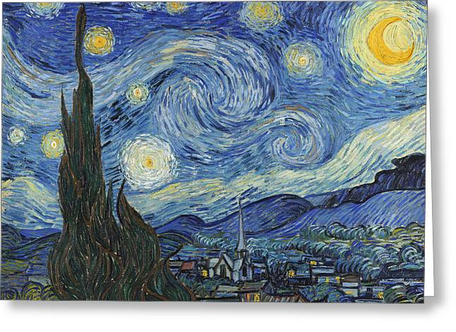 Moonlit Greeting Cards - The Starry Night Greeting Card by Vincent Van Gogh