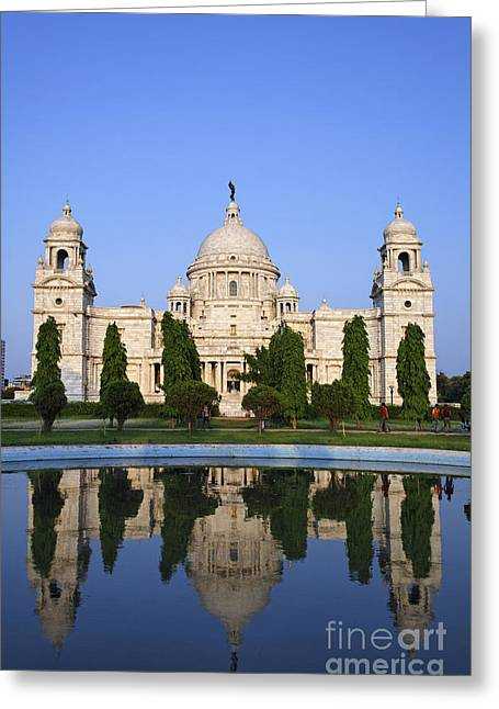 White Marble Greeting Cards - The Victoria Memorial in Calcutta India Greeting Card by Robert Preston